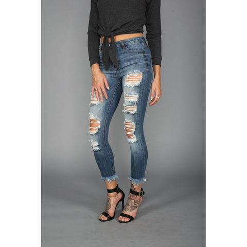 High Rise Crop Fray Hem Jeans