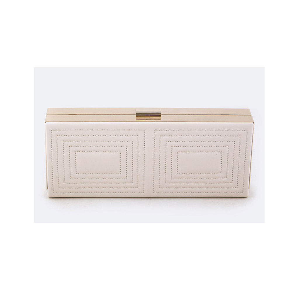 Ivory Embroidered Square Clutch