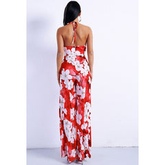 Floral High Split Jumpsuit
