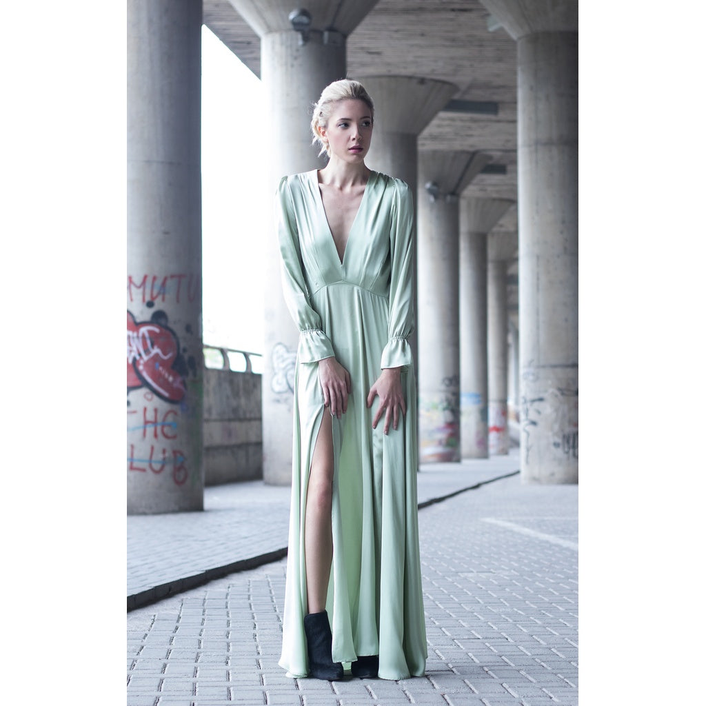 Mint satin maxi dress