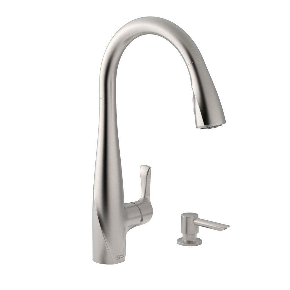 faucet with down hansgrohe faucets stainless pull f four steel inexpensive costco your american standard hole best idea for kitchen sink spray