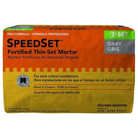 Custom Building Products SpeedSet 25 lb. Bag of Gray Fortified Thinset Mortar