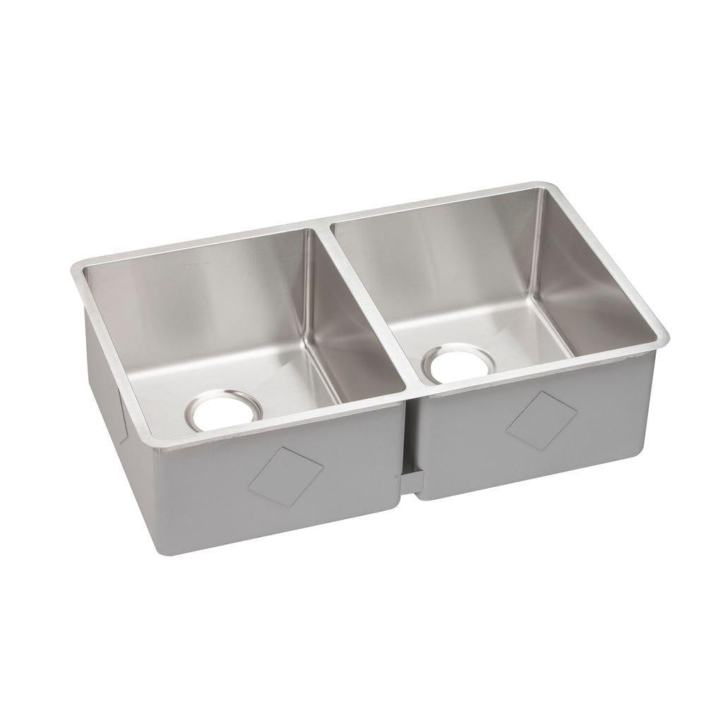 Elkay Crosstown Undermount Stainless Steel 32 in. Double Bowl Kitchen Sink