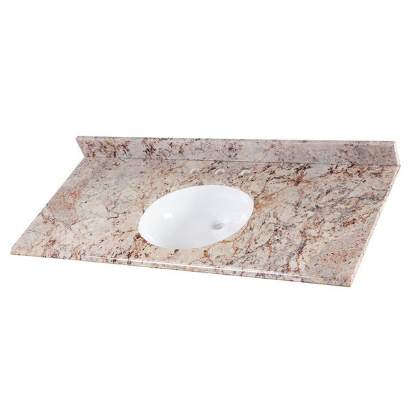 Home Decorators Collection 49 in. Stone Effects Vanity Top in Rustic Gold with White Basin