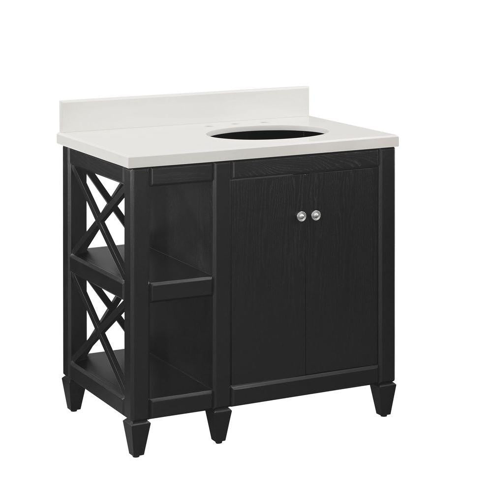 Home Decorators Collection Hayes Contemporary 36 in. Vanity in Black Cabinet Only