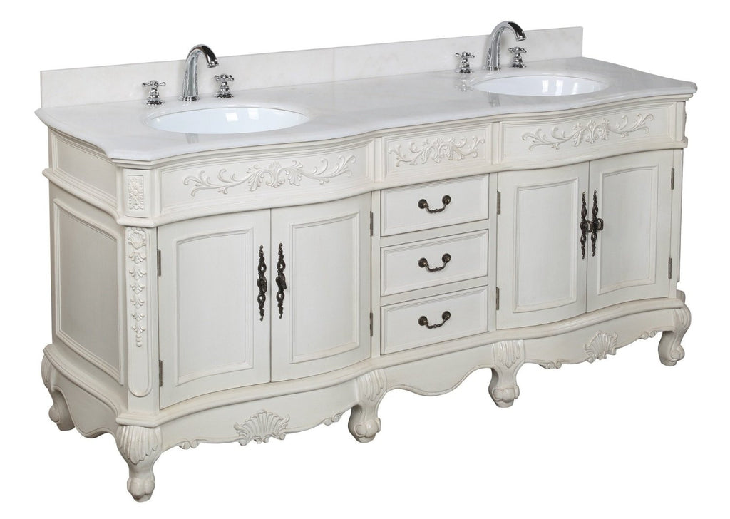 Kbc Versailles 72 Inch White Cream Double Vanity With Custom Top By Dream Home Supply Ltd