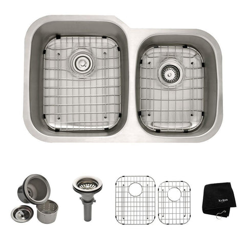 KRAUS KBU24 Professional Kraus 32 Inch Undermount 60/40 Double Bowl Stainless Steel Kitchen Sink