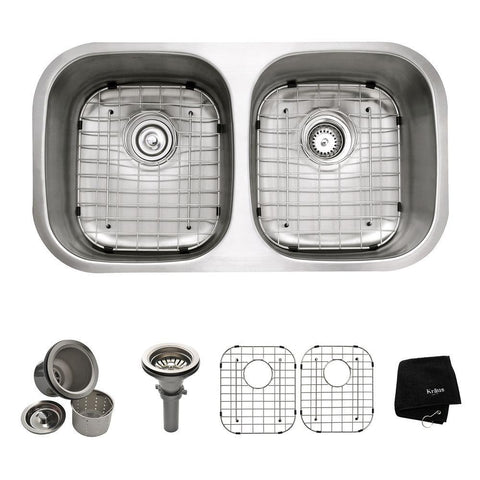 KRAUS KBU22 All-in-One Undermount Stainless Steel 32.25 in. Double Bowl Kitchen Sink