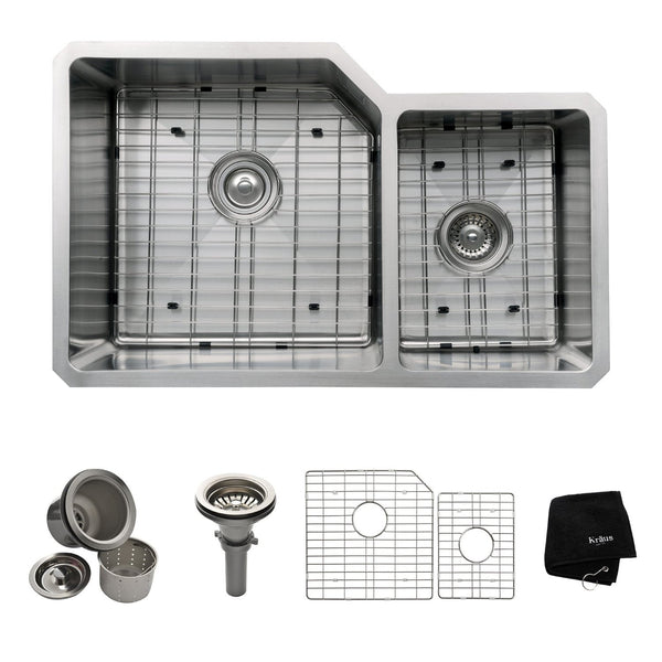 Kraus KHU123-32 32in. Undermount 60/40 Double Bowl 16-Gauge Stainless Steel Kitchen Sink