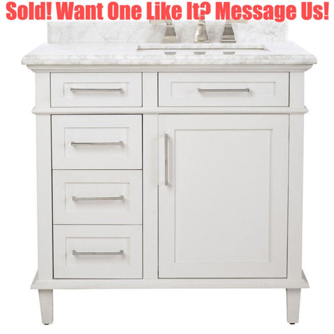 Home Decorators Collection Sonoma 36 in. Vanity in White with Carrara Marble Vanity Top
