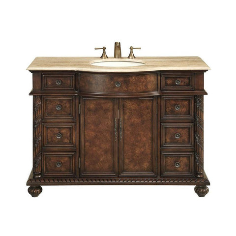 Stufurhome Amelia 48 in. Vanity in Dark Cherry