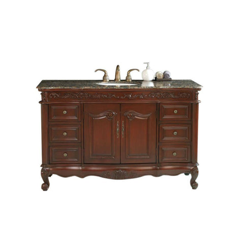 Stufurhome Princeton 56 in. Vanity in Dark Cherry with Custom Vanity Top