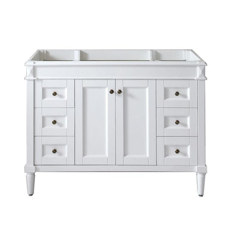 Virtu USA Tiffany 48 in. W x 22 in. D x 35.24 in. H Vanity Cabinet Only in White