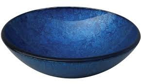 Yosemite Home Decor CAMDEN Fused Topmount Round Glass Basin, Royal Blue