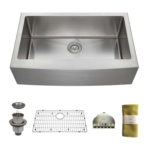 Zuhne 33 Inch Farmhouse Apron Deep Single Bowl 16 Gauge Stainless Steel Luxury Kitchen Sink