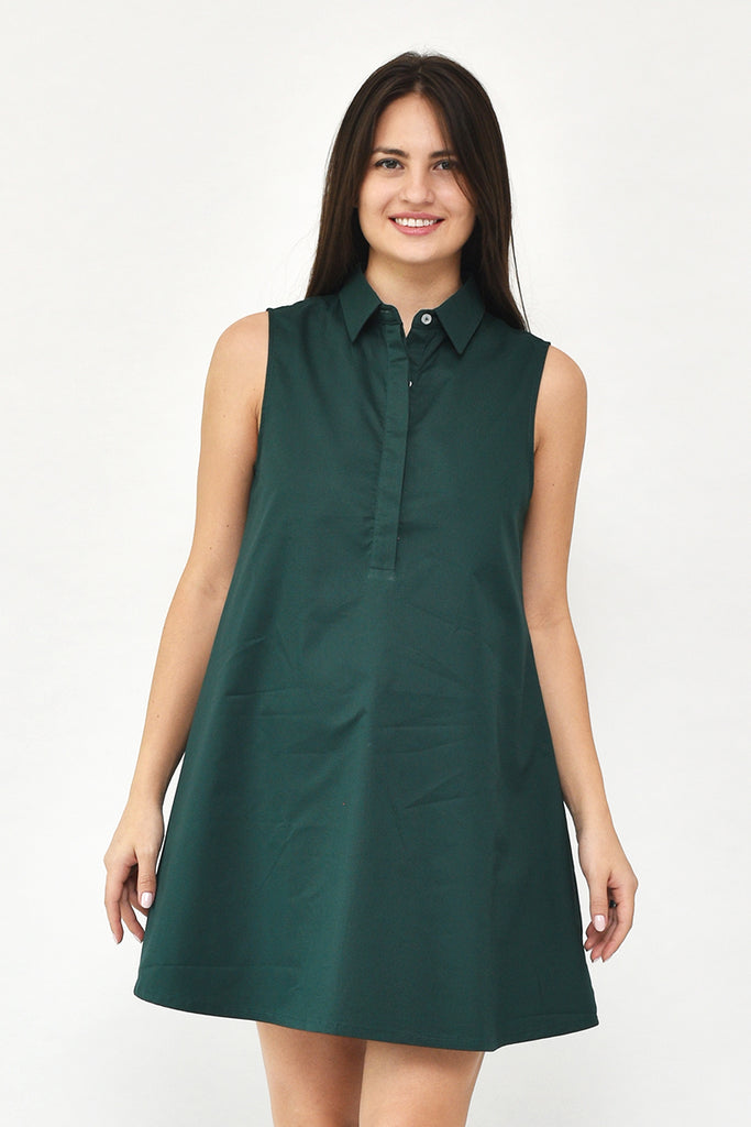Avery Button-Down Collar Tent Dress in Forest Green