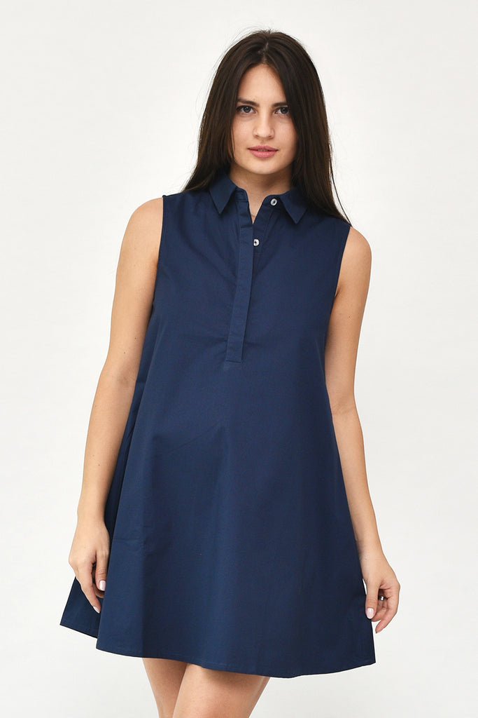 Avery Button-Down Collar Tent Dress in Navy Blue