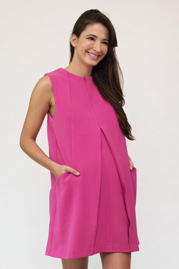 Chloe Origami Structured Nursing Dress in Hot Pink