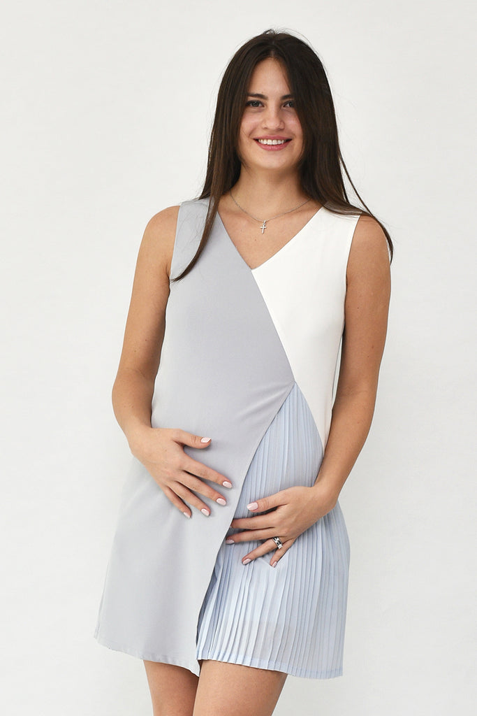 Isabella V-Neck Tri-Colour Pleated Dress in Blue-Grey