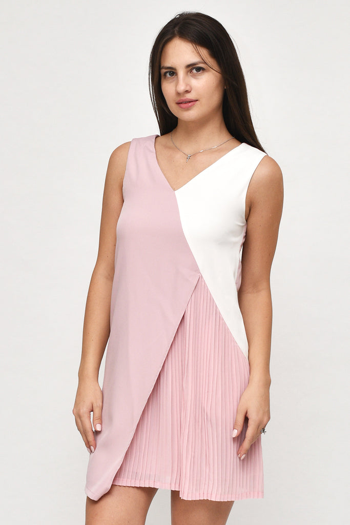 Isabella V-Neck Tri-Colour Pleated Dress in Blush Pink
