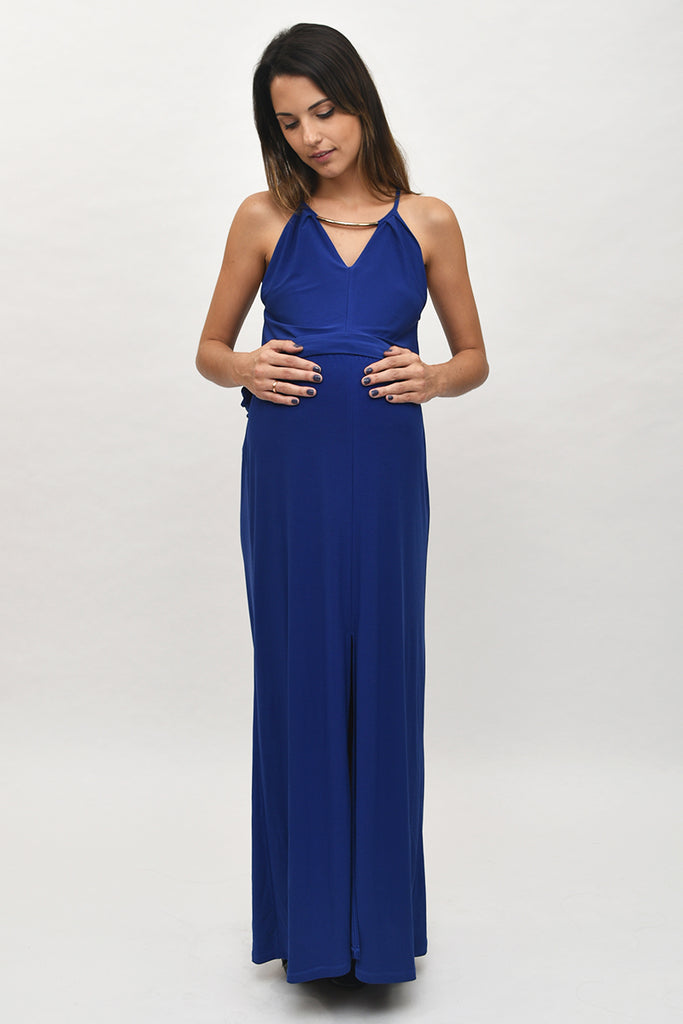 Lucia Vintage Metal V-Neck Maxi Dress in Sapphire