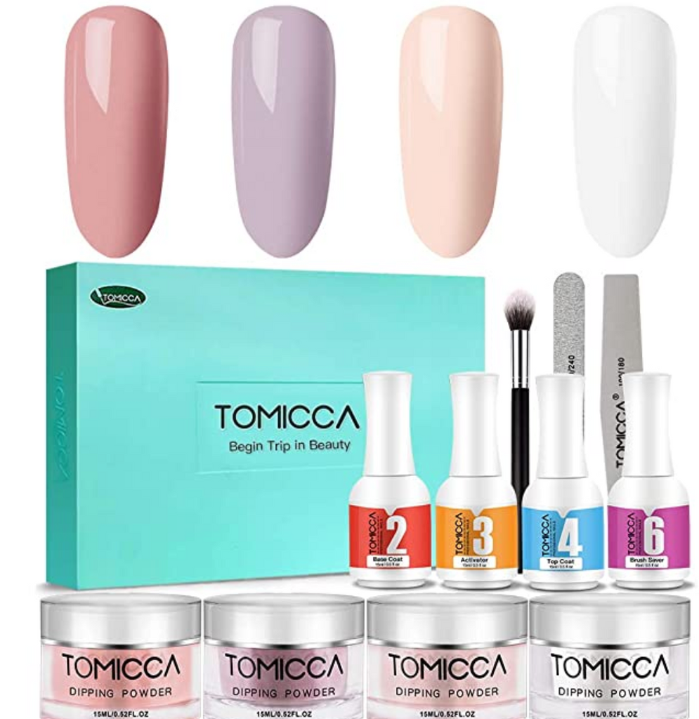 TOMICCA Dip Powder Nail Kit Nail Dipping Powder System Starter Kit of 4 Colors 0.5oz with Nail File & Buffer for French Nail
