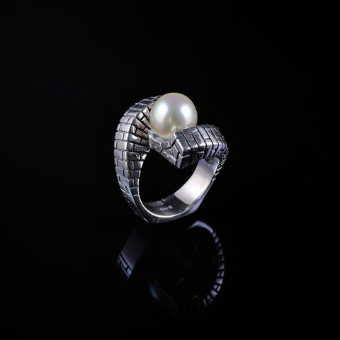 Architecture toi et moi Ring in sterling sterling silver with a freshwater pearl