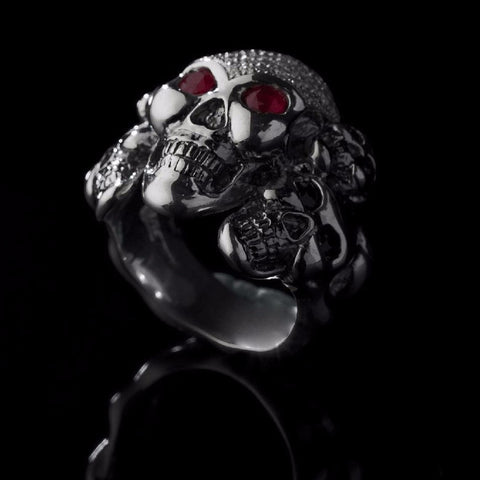 5 Kings Skull Pave Ring