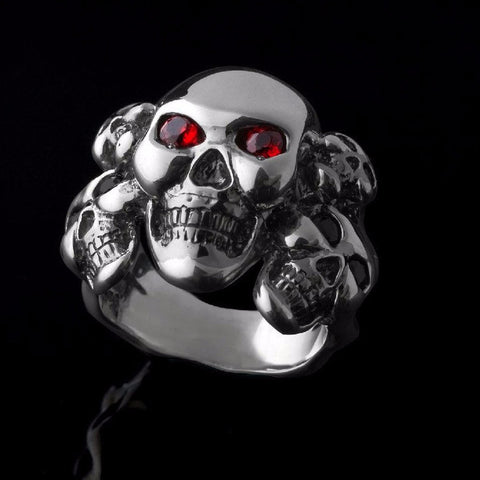 5 Kings Skull Ring-Silver-Sapphires-Diamonds