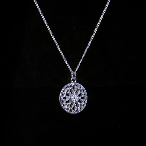 Silver Drop Pendant with Vine texture on a silver chain
