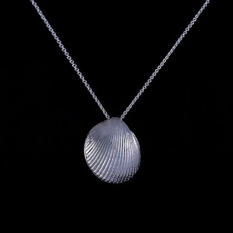 Large sterling silver sea shell pendant