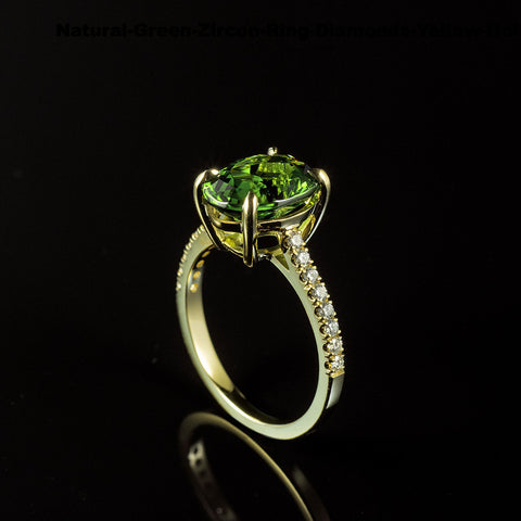4.45 Carat Green Zircon and Diamond Ring