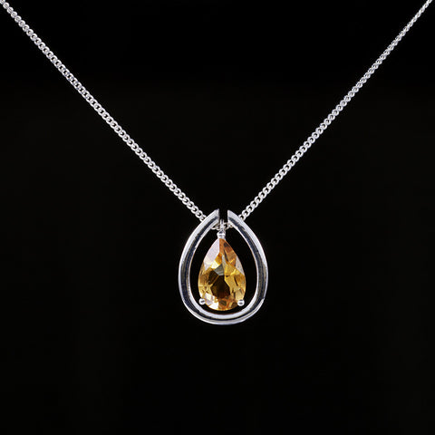 Citrine drop pendant in sterling silver with detachable collar