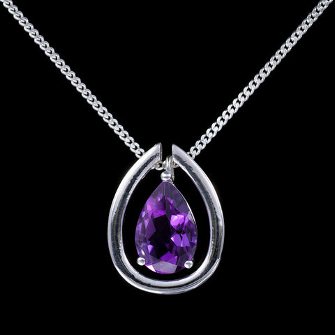 Amethyst drop pendant with detachable sapphire pave collar
