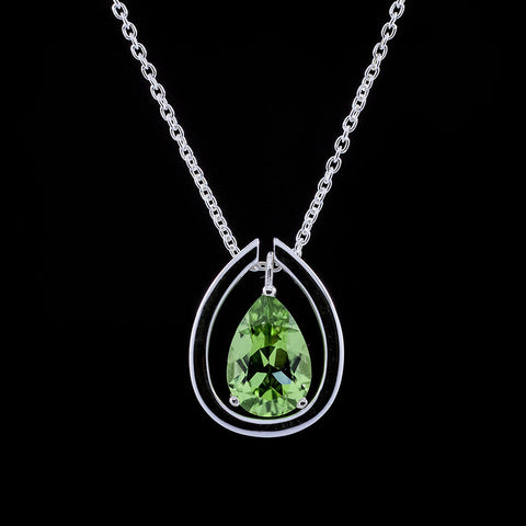 Peridot silver drop pendant with detachable collar