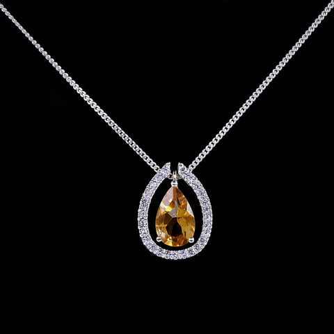 Citrine drop pendant with detachable pave halo