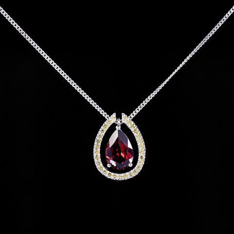 Garnet gemstone pendant with matching garnet pave