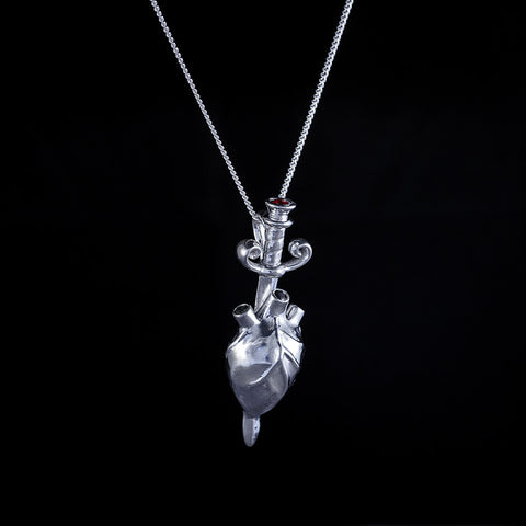 Heart and sword sterling silver mens pendant