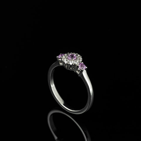 Pink and white sapphire engagement ring set in 14 carat gold