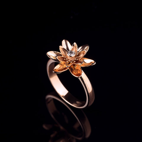Rose gold lotus flower ring