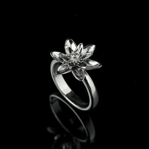 White gold and diamond lotus flower ring
