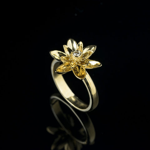 Yellow gold lotus flower and diamond ring
