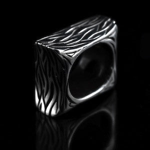 Square Shaped Mens Heavy Silver Ring (wave pattern)