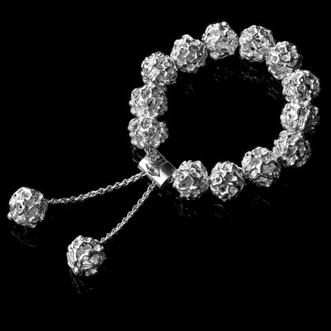Sterling silver ball bracelet with vine motif