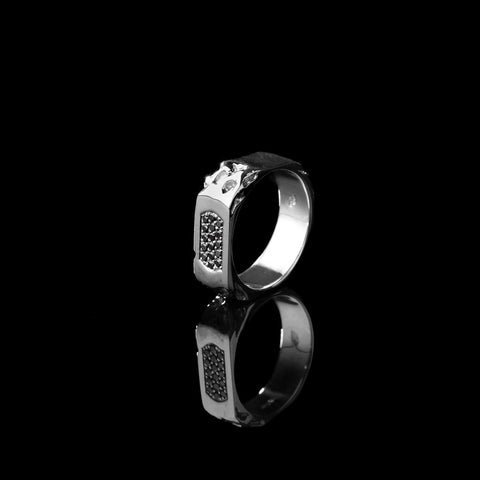 Mikael mens sterling silver ring with black diamonds pave