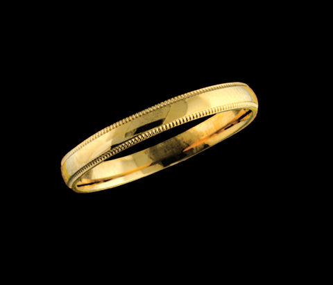 Men's 3mm yellow gold wedding band with beaded edge