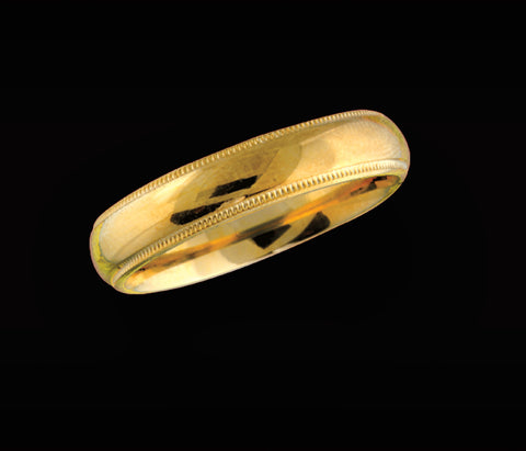 Men's 5mm yellow gold wedding band with beaded edge