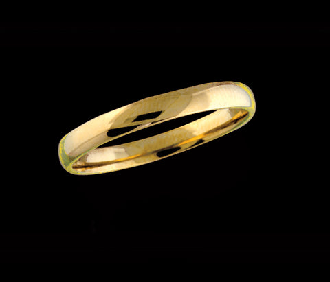Men's 3mm yellow gold wedding band