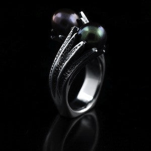 "Sterling silver toi et moi Tahitien pearl ring ""Twist"""