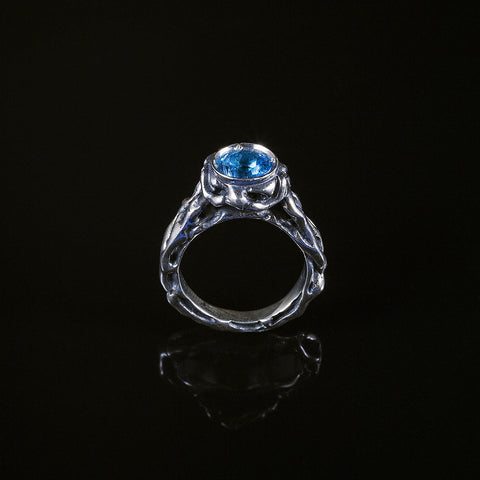 Patterns blue topaz vine textured ring